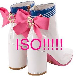 MAJOR ISO: SAILOR MOON WHITE ANKLE BOOTS